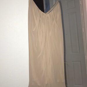 Taupe silk strapless ark & Co silk chiffon dress